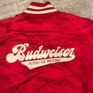 Vintage 80s Budweiser Satin Bomber Jacket